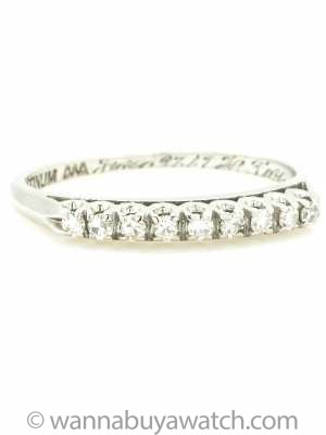 Antique Platinum and Diamond Partial Eternity Band