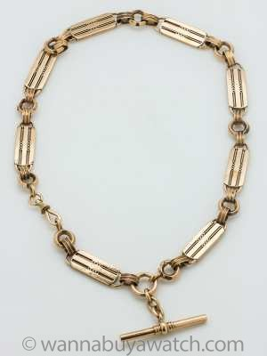 Pocketwatch Chain Necklace 9k Gold circa 1900-1910