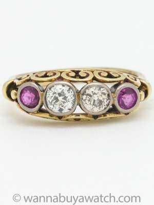 Antique Victorian Old European Cut Diamond and Ruby 14K Ring