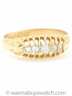 1890s Yellow Gold and Old Mine Cut Diamond Ring
