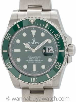 "Rolex Submariner ref 116610LV Green Ceramic ""Hulk"""