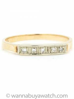 Lovely 14K White and Yellow Gold Diamond Band circa 1940s