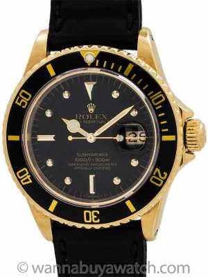 "Rolex Submariner 18K YG ref 16808 Transitional ""Nipple"" Dial circa 1983"