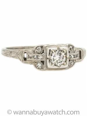 Classic Art Deco Platinum Diamond Engagement Ring .25ct G-I1 circa 1930's
