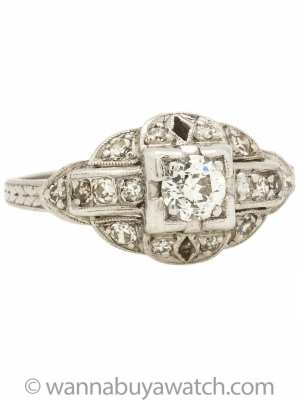 Vintage Platinum Diamond Engagement Ring .35ct Old European Cut H/VS2 circa 1930's