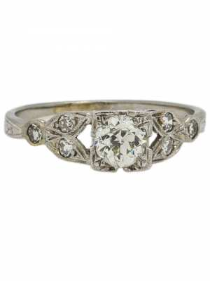 Vintage Engagement Ring 18K WG 0.48ct Old European Cut I-SI2 circa 1930s