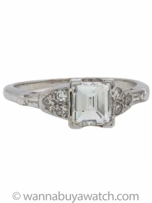 Vintage Diamond Engagement Ring 1.04ct Step Cut H-VS2 circa 1950s