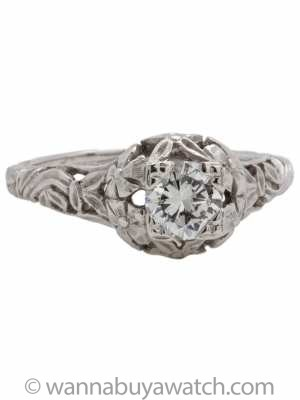 Vintage Style 14K White Gold Diamond Solitaire 0.53ct E-VS2