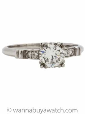 Vintage Engagement Ring Platinum 0.77ct Round Brilliant F-VS1 circa 1930's