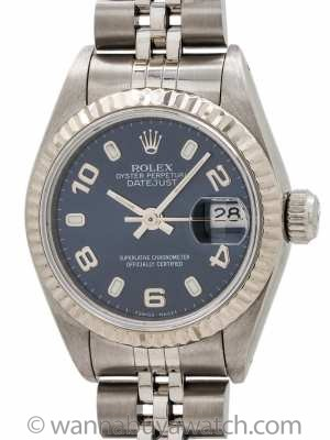 Lady Rolex Datejust ref 69174 Blue Arabic Dial circa 1993
