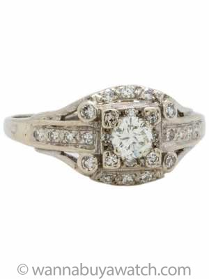 Vintage Diamond Engagement Ring 18K 0.30ct I-VS1 circa 1940s