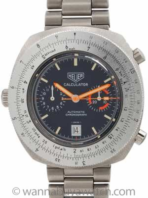 Heuer SS Calculator Chronograph circa 1977