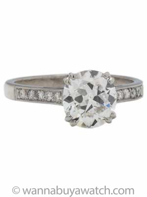 Platinum Diamond Engagement Ring 1.69ct Certified Cushion Cut F-VS2