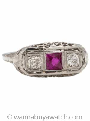 Lovely Antique White Gold Diamond & Ruby Ring 14k .40ct circa 1920s
