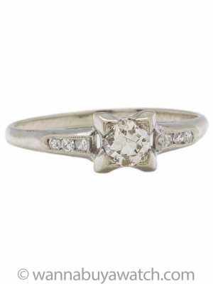 Vintage Diamond Engagement Ring 14k White Gold 0.30ct J-SI1 circa 1940s