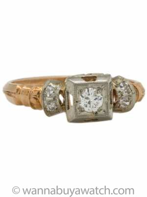 Vintage Retro Rose Gold Diamond Engagement Ring 0.20ct H-VS1 circa 1940s
