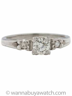 Vintage Diamond Engagement Ring 0.45ct I-VS1 circa 1940s