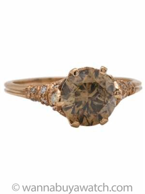 "Stunning ""New Vintage"" 18k Rose Gold Pave Ring 1.85ct Cognac Diamond"