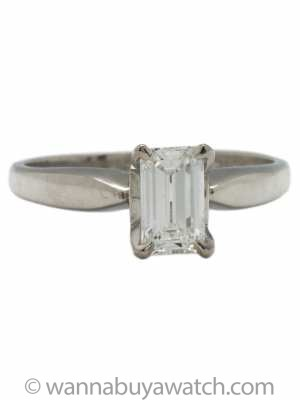 Modern Solitaire Engagement Ring Platinum 0.60ct Emerald Cut E-VS1
