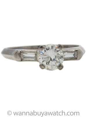 Vintage Platinum Engagement Ring 0.50ct H-VS2 circa 1940s