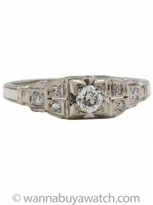 Antique Art Deco 18k White Gold Engagement Ring 0.25ct F-SI2 circa 1930s