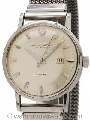 "IWC SS Automatic with Date circa 1960 with ""Elmitex"" Bracelet"