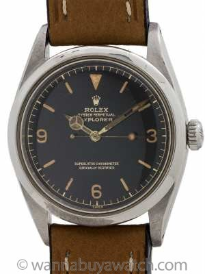 Rolex Explorer 1 ref 1016 Gilt Dial Exclamation Point circa 1962