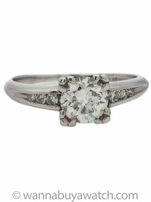 Vintage Diamond Engagement Ring Platinum 0.86ct Round Brilliant H-SI1 circa 1930s