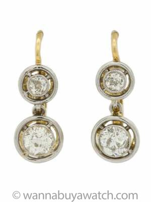18K WG & YG Bezel Set Old European Cut Diamond Dangle Earrings 1.00ct