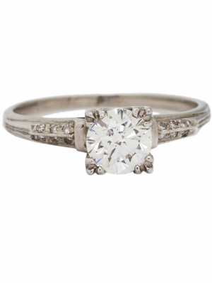 Vintage Engagement Ring Platinum 0.91ct Round Brilliant G-VS1, circa 1940s