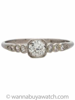 Vintage Engagement Ring Platinum 0.40ct OEC G-VS2 circa 1930s