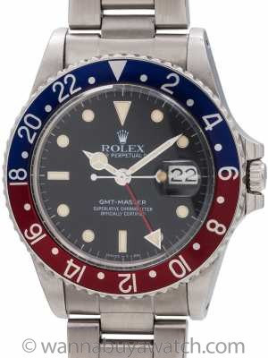 Rolex GMT Stainless Steel ref 16750 Transitional Model circa 1985