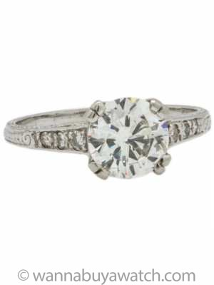 Engagement Ring Platinum 1.52 Carat Round Brilliant H-SI2