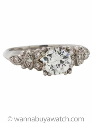 Vintage Engagement Ring Platinum 0.94 Carat Old European Cut G-VS1, circa 1930s