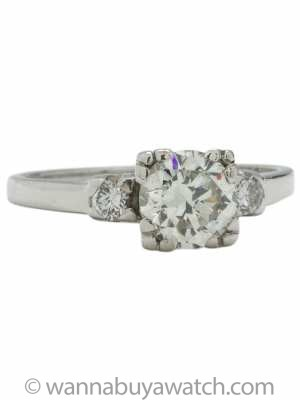 Vintage Engagement Ring Platinum 0.93ct Round Brilliant I-SI1 circa 1940s