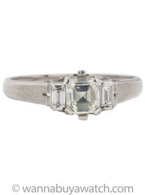 Vintage Engagement Ring Platinum 0.49ct Asscher Cut J-SI1 circa 1930s