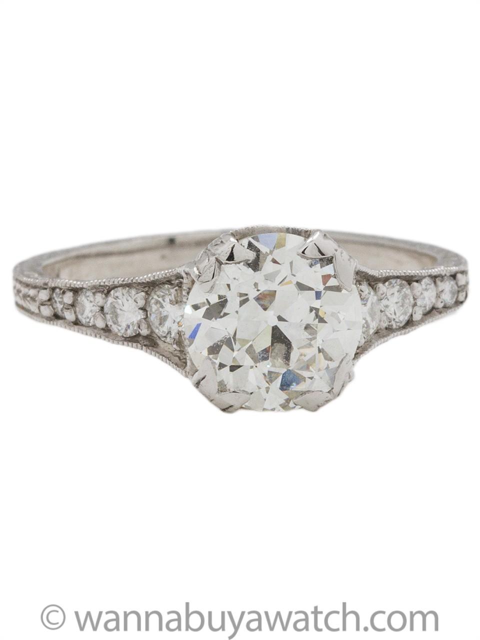Hand Engraved Edwardian Style Engagement Ring Platinum 1 63ct Oec G Vs1