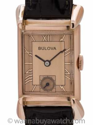 Bulova 14K Rose Gold Rectangle 1940's