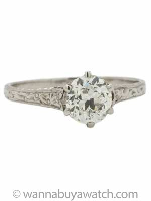 Vintage Platinum Solitaire Engagement Ring Certified 0.94ct OEC G-SI1 circa 1920