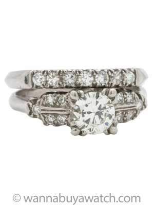 Vintage Platinum Diamond Wedding Set 0.77ct Transitional Cut G-VS2 circa 1940s