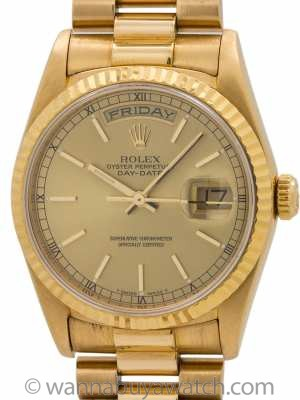 "Rolex ref 18238 Day Date President 18K YG ""Double Quick"" circa 1993"