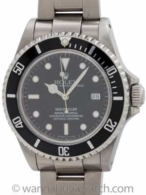 Rolex Sea-Dweller ref # 16600 Tritium Indexes Dial circa 1991 Box & Papers