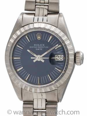 Ladies Rolex Oyster Perpetual Date Blue Radial Dial circa 1973