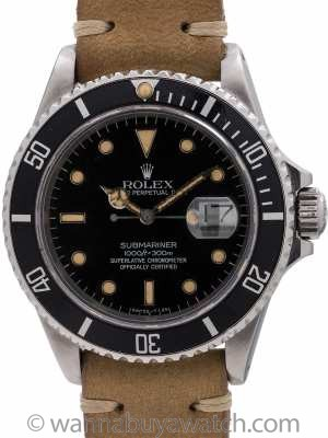 Rolex Submariner ref 16800 Transitional Model circa 1986