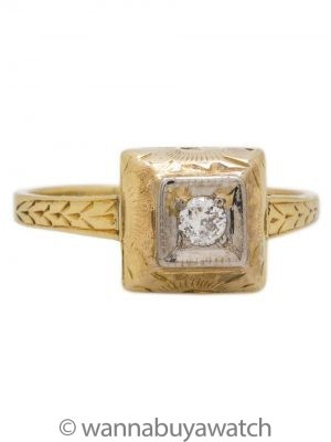 Vintage Engagement Ring 14K 0.10ct OEC J-I2 circa 1920s