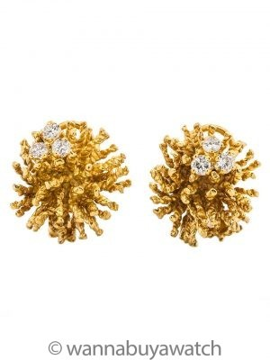 Vintage Sea Urchin 14K Diamond Earrings 0.60ct circa 1960s