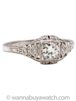 Vintage Engagement Ring 18K WG 0.45ct OEC I-SI1 circa 1930s