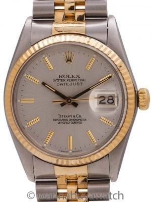 Rolex Datejust Tiffany & Co. ref 16013 SS/18K YG circa 1980 w/ Box
