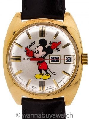 Helbros 17 Jewel Automatic Day Date Mickey Mouse circa 1970's