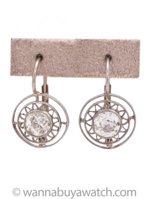 Vintage Art Deco Platinum & WG OEC Dangle Diamond Earrings 1.20ct